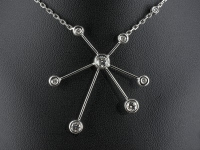 Round Brilliant Diamond Satellite Pendant Design Handmade in Palladium.