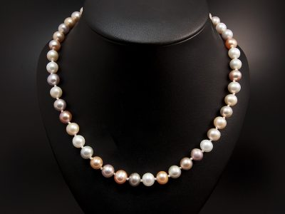 Multi Tone Round Freshwater Pearl Necklace 7-8mm With Silver 'C' Shaped Clasp. Available In Store £480.00
