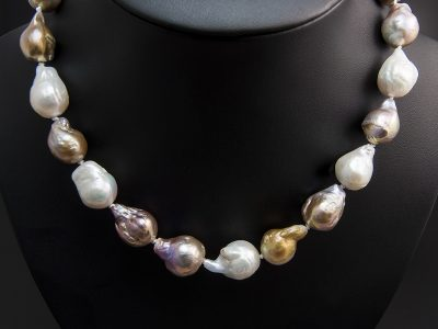 3 Colour Teardrop Shape Saltwater Pearl Necklace 11-15mm With A Silver Lobster Style Clasp. Available in Store £490.00