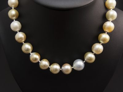 Peach, Grey Tone Graduated Southsea Pearl Necklace 10-14.6mm With A Gold Plated Silver Magnetic Clasp. Available in Store £995.00