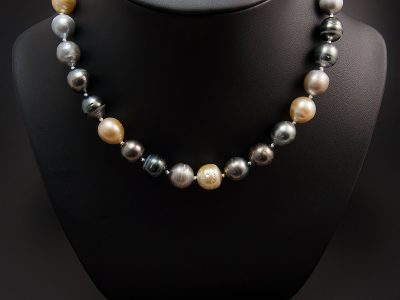 Multi Tone Tahitian & Baroque Salt Water Pearl Necklace 9.8-11.5mm With Silver Magnetic Oval Patterned Clasp. Available In Store £660.00