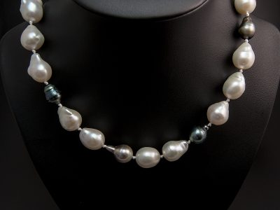 Multi Tone Tahitian & Baroque Pearl Necklace 12-13mm With Silver Loop Lock Clasp. Available in Store £1010.00