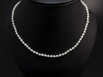 White Round Akoya Pearl Necklace 3-3.5mm With A Silver Round Magnetic Clasp. Available in Store £615.00