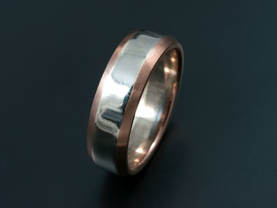 Two Tone 18kt White and Rose Gold Gents Wedding Ring with Chamfered Edges