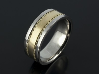 Gents Wedding Ring in 18kt Yellow and White Gold with Rope Detail and Textured Finish.