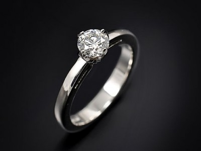 Platinum 4 Claw Compass Set Engagement Ring with a 0.46ct F VS2 Round Brilliant Diamond