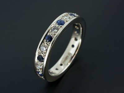 Platinum Full Diamond and Sapphire Eternity / Wedding Ring with 11 x Round Brilliant Diamonds F VS 0.66ct total and 11 x Round Brilliant Sapphires 0.65ct total.