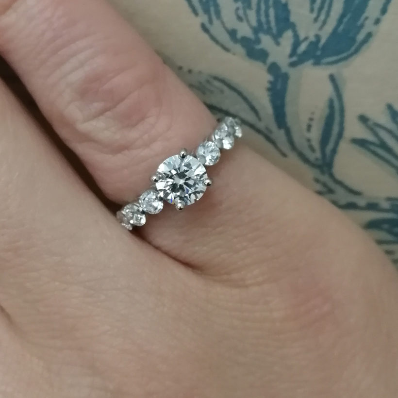 round brilliant cut diamond claw set ring, claw set diamond and platinum ring, 7 row diamond engagement ring, E colour diamond jewellery glasgow