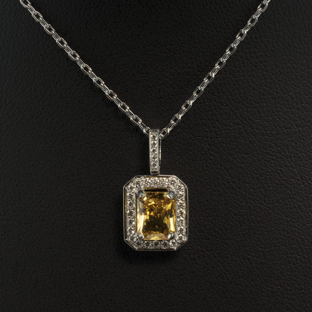 18kt White Gold Diamond Pavé and Claw Set Pendant with Radiant Cut Yellow Sapphire 1.58ct, yellow sapphire and diamond pendant, 18 karat white gold pendant with sapphire and diamonds, sapphire white gold necklace, claw set yellow sapphire pendant