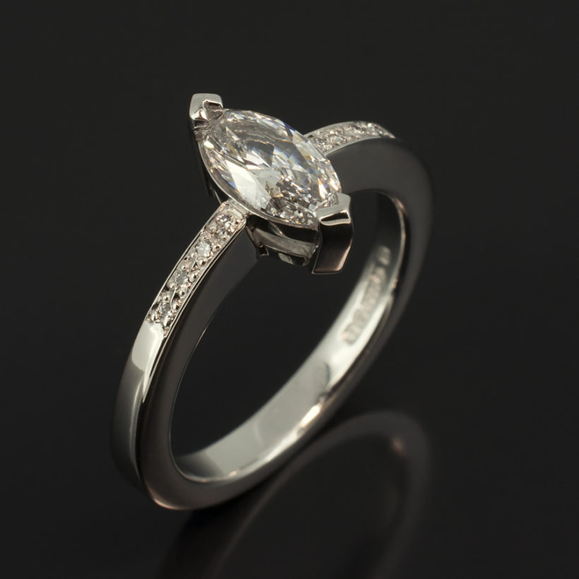 Platinum claw and pave set engagement ring, marquise cut diamond engagement ring, SI1 clarity diamond, pave shoulder engagement ring, marquise diamond platinum ring, engagement ring designed and made in scotland
