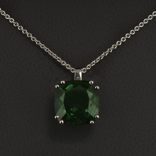 Cushion Cut Green Quartz 6.07ct Claw Set Pendant Necklace in 18kt White Gold on a 16 Inch White Gold Chain