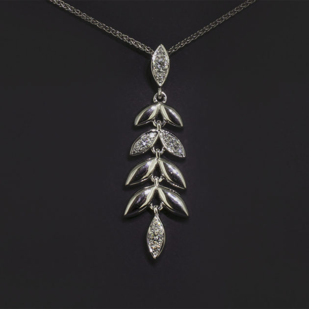 vine leaf design pavé set necklace, white gold and diamond leaf design necklace, 18kt white gold and diamond pendant, ornate vine leaf diamond necklace