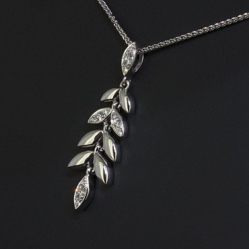 ornate leaf design diamond necklace, white gold and diamond leaf necklace, pave diamond and white gold necklace glasgow, diamond necklace in white gold