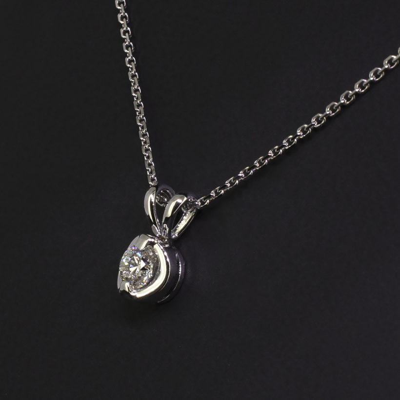 18kt white gold round brilliant cut diamond claw set pendant, white gold and diamond pendant necklace, fine diamond pendant in white gold, fine diamond necklace glasgow