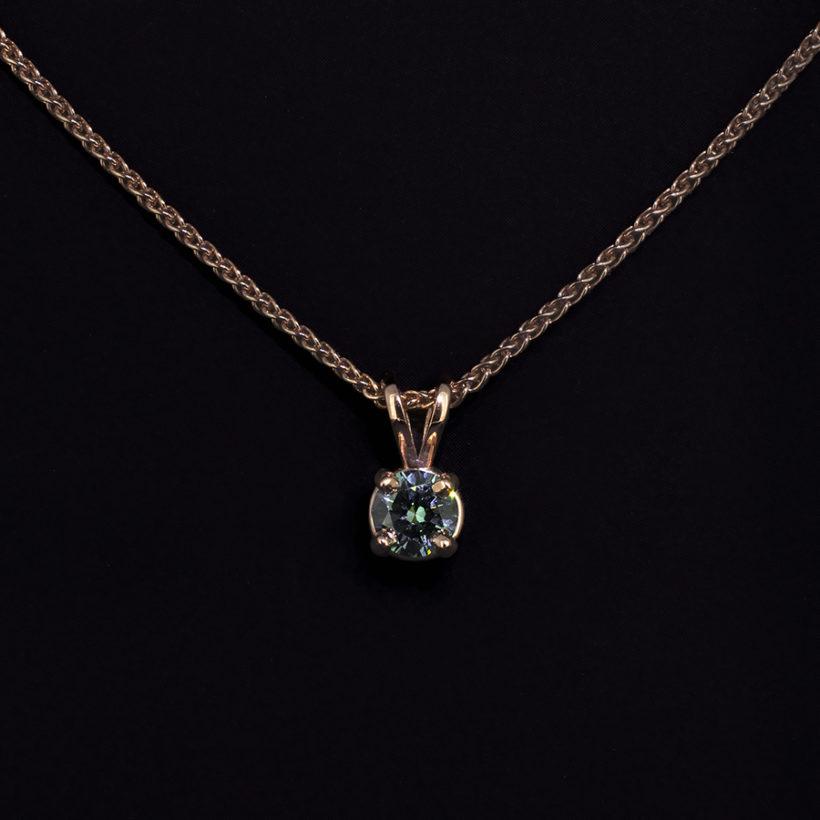 blue diamond solitaire pendant necklace in 9kt red gold, claw set blue diamond pendant, red gold spiga chain necklace with blue diamond, blue diamond solitaire pendant glasgow