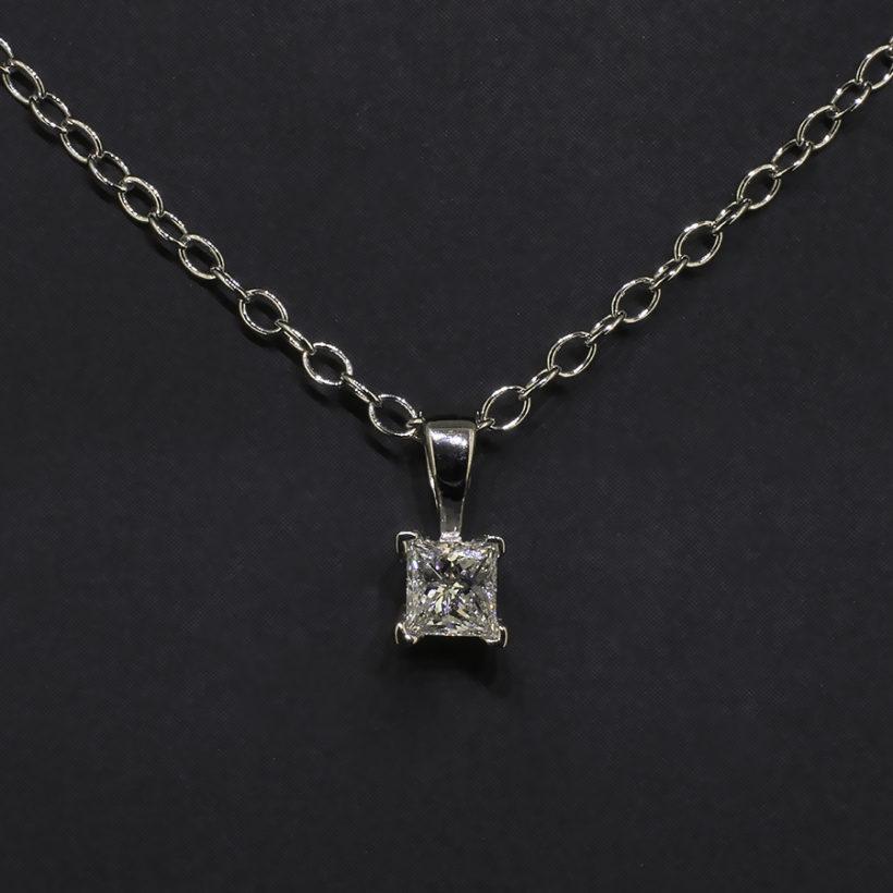 princess cut diamond pendant necklace, claw set diamond pendant, platinum and diamond necklace, 18 inch platinum and diamond pendant necklace