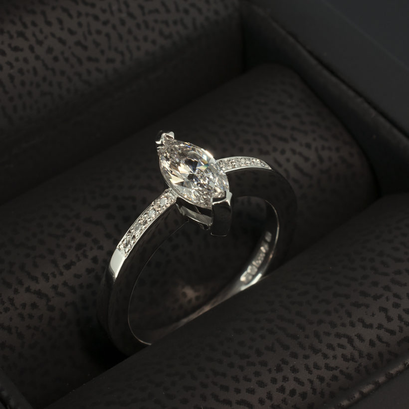 marquise cut diamond and pavè engagement ring, marquise diamond engagement ring glasgow, pave diamond shoulder engagement ring platinum ring with marquise diamond