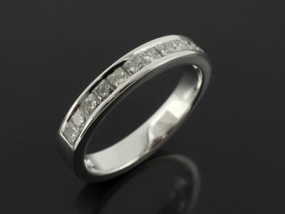 18kt White Gold Channel Set Princess Cut Diamonds 0.8ct G Colour SI Clarity