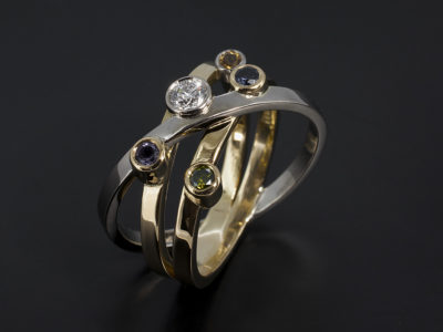 18kt White and Yellow Gold Birds Nest with 20 Round Cut, Green Diamond, Amethyst, Sapphire, Citrine