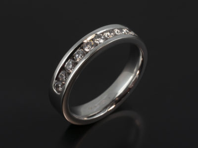 18kt White Gold Channel Set Half Eternity Ring with Round Brilliant Cut Diamonds 0.52ct Total F Colour VS Clarity Minimum