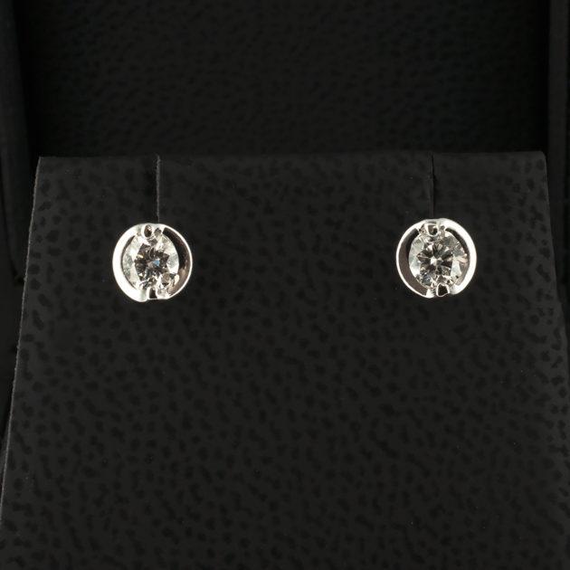Platinum Set Diamond Stud Earrings with Round Brilliant Cut Diamonds