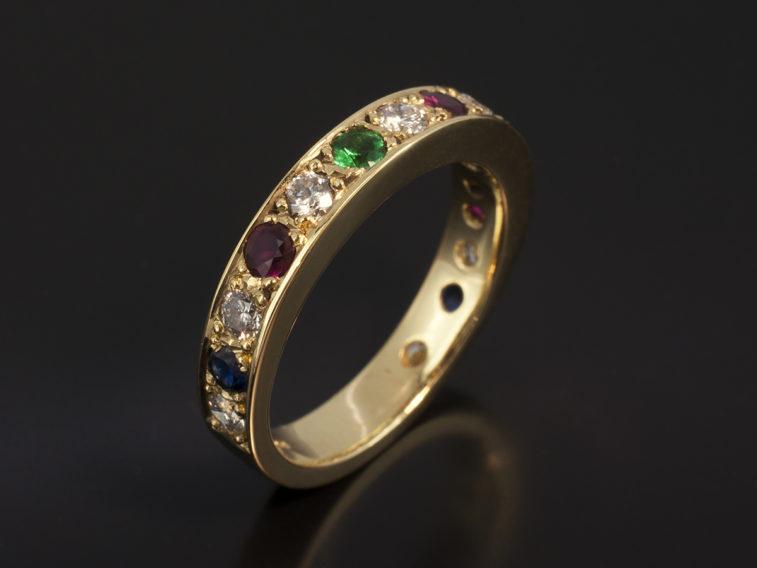 18kt Yellow Gold Pavè Eternity Ring rounds 67 x 8 Sapp 24 x 2 ruby 36 x 3 emerald 16 x 2