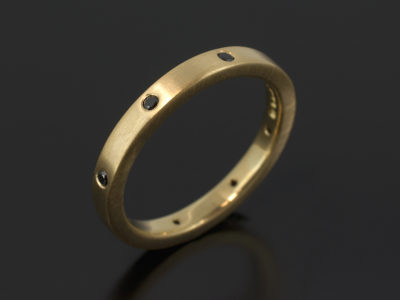 18kt Yellow Gold Secret Set Design with Round Brilliant Cut Black Diamonds 0.12ct Total in a Brushed Finish