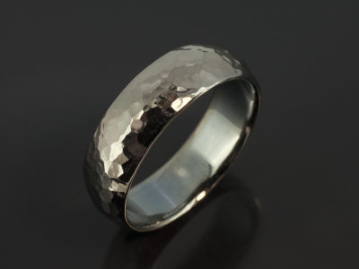 9kt White Gold Court Shaped 8mm Hammered Black Rhodium Plated Design Wedding Ring