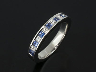 9kt White Gold Princess Cut Diamond and Sapphire Channel Set Ring