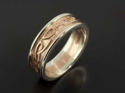 Celtic Gents Wedding Ring 9kt Red and White Gold