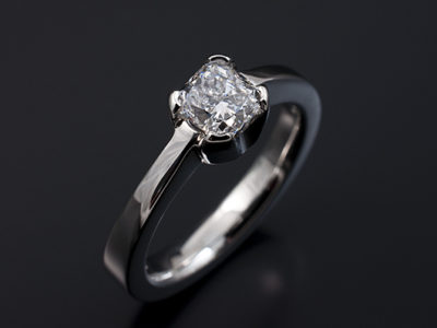 Cushion Cut Diamond 0.76ct Palladium 4 claw Design
