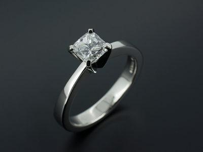 Cushion Cut Diamond, 0.7ct Platinum 4 Claw Design
