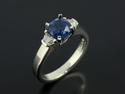Cushion Sapphire 1.51ct and Half Moons F Colour VS Platinum