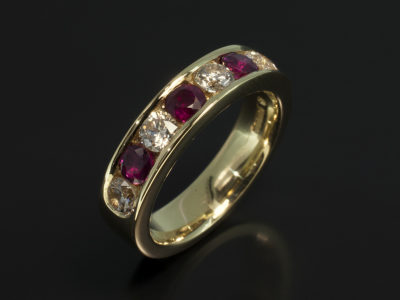 Ladies Diamond and Ruby Eternity Ring, Yellow Gold Channel Set Design, 3,5mm Rubies and Round Brilliant Cut Diamonds
