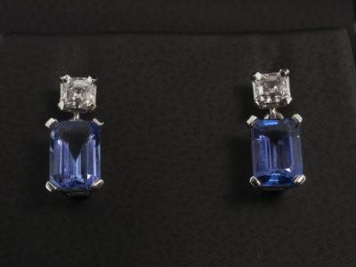 Earrings 18kt WG 183 Tanzanite 38 Asscher sized