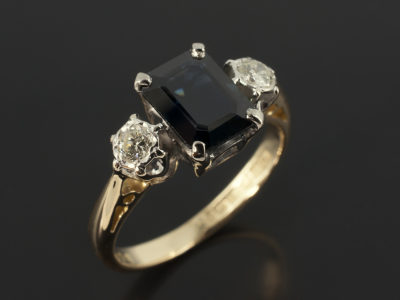 Emerald Cut Sapphire 2.05ct with Round Brilliant Cut 0.20ct Side Diamonds Yellow Gold and Platinum