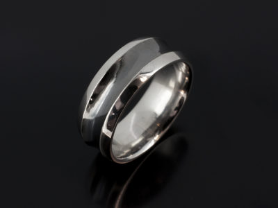 Gents 8mm Platinum Chamfered Edge Concave Design Wedding with Black Rhodium Plated Centre