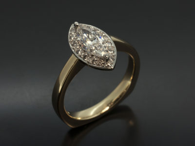 Marquise Cut Diamond 52 D SI1 EXEX 18kt White Gold and Yellow Gold Halo Pavè Rounds x 14