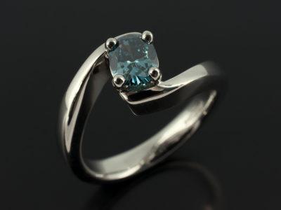 Oval Cut Blue Diamond 0.63ct 4 Claw Palladium Twist