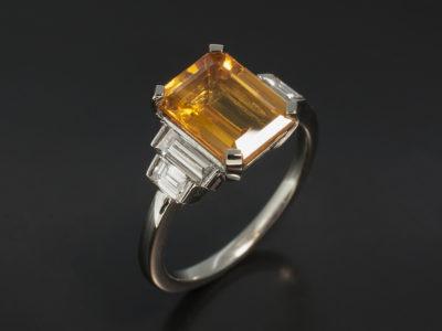 Platinum Claw and Tension Set Design, Emerald Cut Yellow Sapphire 2.58ct Baguette Cut Diamonds 0.53ct (4)