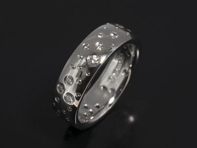 Palladium Secret Set Diamond Scatter Design 0.38ct Total with Beading Detail
