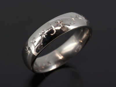 Palladium Court Shaped 6mm Width Wedding Ring with Outer Engraved Lettering