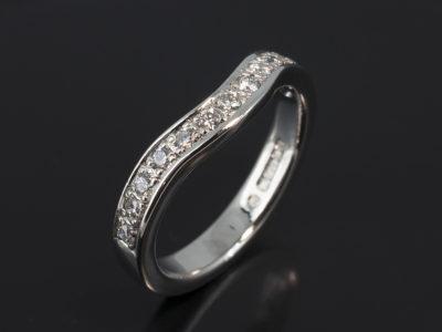 Palladium Pavé Set Fitted Design. Round Brilliant Cut Diamonds, Approximately 0.26ct (13). F Colour VS Clarity Minimum