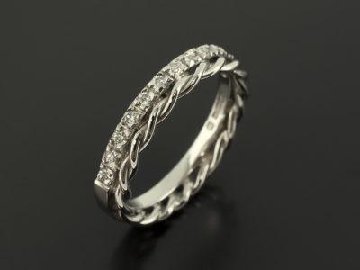 Palladium Twist and Claw Set Diamond Design