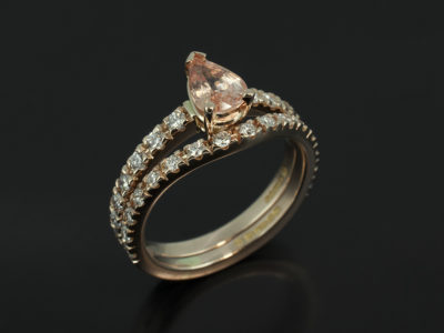 Peach Sapphire with Claw Set Diamond Fitted wedding Ring Red Gold