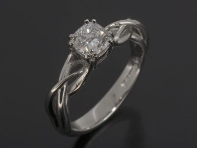 Platinum Lattice Design With Claw Setting. Cushion Cut Diamond 0.70ct
