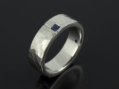 Hammered Platinum Square Cut Sapphire Wedding Ring