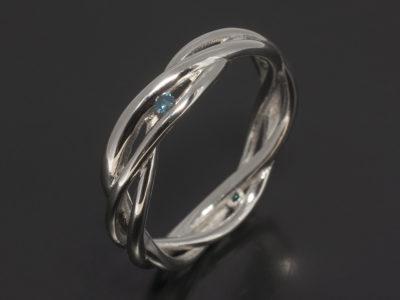 Platinum Lattice Design Wedding Ring with Round Brilliant Cut Blue Diamonds