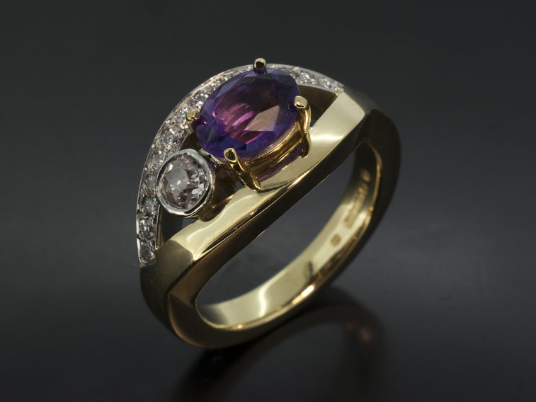 Plat and 18kt YG Cross Over Oval Amethyst 16ct Rounds 38 GH SI Pave set rounds