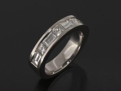 Baguette Cut Diamonds 1.14ct (5), Princess Cut 0.53ct (4) Channel Set Design in Platinum